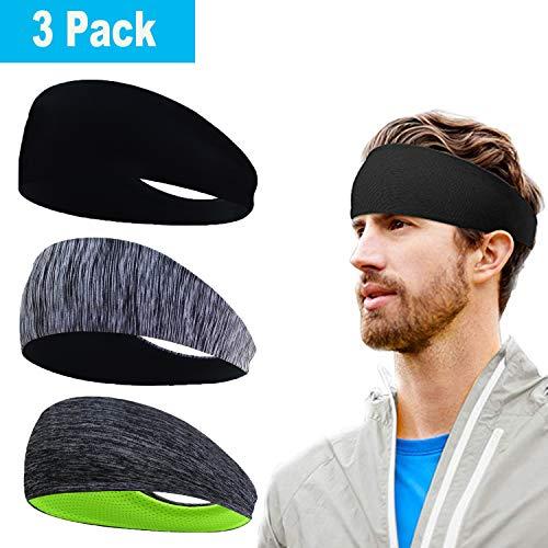 Herren Stirnband (3er Pack), Herren Schweißband & Sport Stirnband für Fitness, Training, Laufen, Crossfit, Radfahren, Yoga, Basketball, Fußball, Tennis - Cooling...