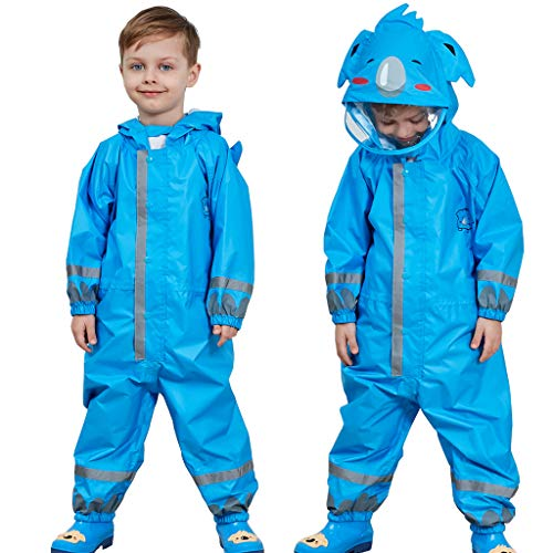 Enfants Imperméable, Combinaison Enfant Imperméable Encapuchonné Pluie Résistant 5-7 years,Bleu