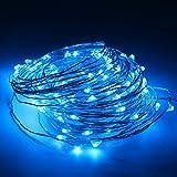 5M(16,4Ft) 50 LEDs Cadena de Luces Impermeable Flexible de Alambre de Plata con Caja de Batería AA(Batería No Incluye) para Iluminación DIY, Navidad y Decoración Fiesta (Azul)