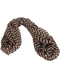 Calonice Amorino Frauen Accessoire Braunes Halstuch im Zickzack Muster für Mädchen und Damen Extralanges Chevron Muster Eine Größe 80x0.1x51 cm (BxHxT) 23700