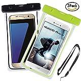 Yould [2 Pack] IPX8 Sac étanche Fluorescent Transparent, Appliquer à pour Nokia 920, Sony S/Sony SP/Sony V, Housse Imperméable Telephone (6''), Profondeur de 15m (Vert+Noir)