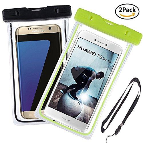 Ycloud Hohe Qualität [2 Pack] Wasserdichte Tasche, bis zu 6 Zoll, Tauchen Kanu Wassersport Tasche Geeignet für LeTV Le Pro 3, Nokia 7, ZTE Nubia N1, ZTE Nubia N2 -(Grün+Schwarz)