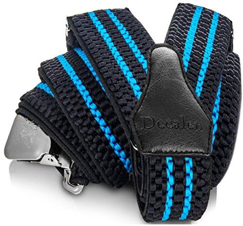 Decalen Hosenträger für Herren breit extra starken 4 cm mit 3er Clips Y Form Lang für Männer und Damen Eine Größe Passt Alle Verschiedenen Farben (Schwarz Blau)