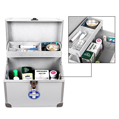 51kwQ5 AYfL - SONGMICS Botiquín de 2 Niveles, Depósito de Medicamentos, Marco de Aluminio ABS, 30 x 20,5 x 23 cm, Plateado JBC361S
