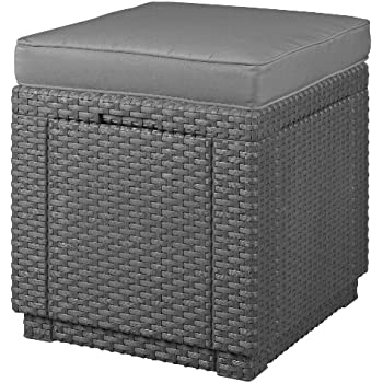 Allibert 206721Tabouret avec coussin Cube W/Cushion, en plastique effet rotin anthracite