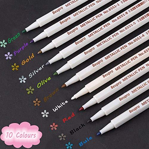 Metallic Marker Pens, Funnasting 10 Farben Metallic Stifte Metallischen Marker für DIY Fotoalbum, Gästebuch, Hochzeit, Glas, Kunststoff, Stein, Holz - Feiner Spitze (1mm)
