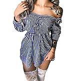 ZhiWanTing Gestreift Schulterfreie T-Shirt Kleid Frauen Party Langarm Oberteile Elegant Bluse Blau XL