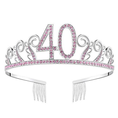 BABEYOND Kristall Geburtstag Tiara Birthday Crown Prinzessin Geburtstag Krone Haar-Zusätze Silber Diamante Glücklicher 18/20/21/30/40/50/60 Geburtstag (40 Jahre alt Rosa)