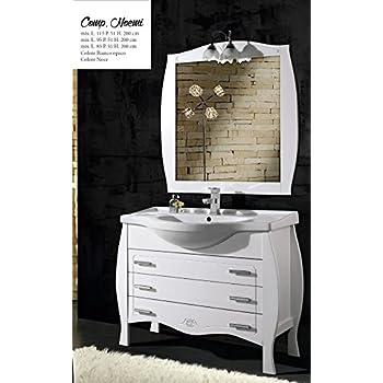 Mobile sottolavabo con lavabo e specchio ilaria 105 cm per arredo bagno bianco classico amazon - Mobile bagno classico bianco ...