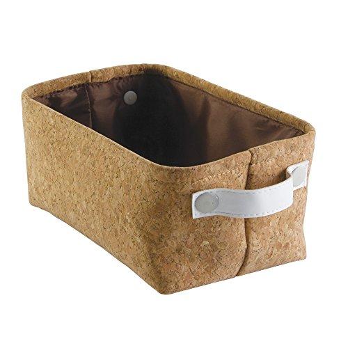 InterDesign 62140EU Quinn Bad-Aufbewahrungsbox für Handtücher, Shampoo, Kosmetika - Klein, Plastik, Kork/weiß, 27.8 x 17.6 x 12.6 cm