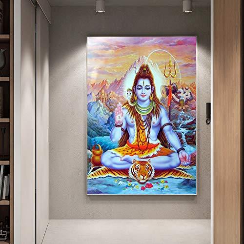 Shiva Lord Leinwand Gemälde An Der Wand Hindu Götter Wandkunst Leinwand Hinduismus Wandposter Und Drucke Cuadros Bild Wohnkultur ( Color : Unframed mk386 , Size (Inch) : Unframe 70x100cm )