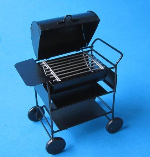 Mini American Barbeque Grill schwarz Metall für Puppenhaus Miniaturen 1:12