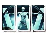 Unified Distribution Westworld TV Serie - Dreiteiler (120x80 cm) - Bilder & Kunstdrucke fertig auf Leinwand aufgespannt und in erstklassiger Druckqualität