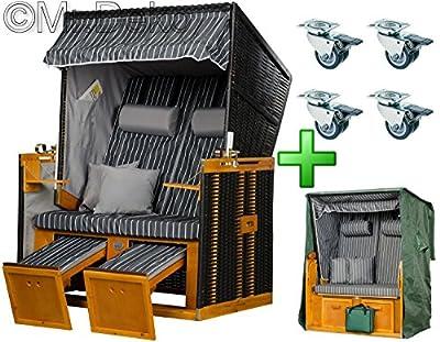 """Amazon Sonderangebot: Strandkorb Nordsee """"Royal Anthrazit"""" inkl. Strandkorbrollen, 4 Kissen und Premium Abdeckhaube für Strandkörbe - VERSANDKOSTENFREI"""