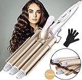 ShuBel Fer à onduler Grandes Vagues Curl Version Professionnelle, Fer à Friser Céramique Tourbaline, Bigoudis pour Cheveux Long/Courts pour Femme, Diamètre 22mm - Or...