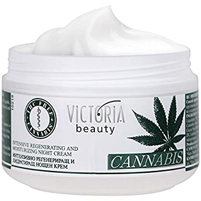 Cannabis Extract Night Face Cream - Natural Intensive Cream with Hemp Oil for Deep Nourishment - Super Moisturiser for Sensitive Skin - 50 ml