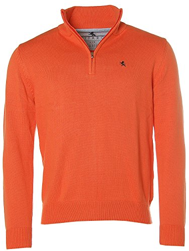 Kitaro Herren Troyer Strick Pullover Basic Spicy Orange