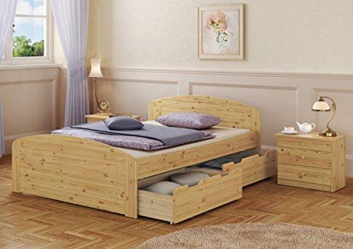 Erst-Holz Funktionsbett Doppelbett 3 Bettkästen 140x200 Seniorenbett Massivholz Kiefer Natur 60.50-14 oR