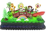 Muppets Birthday Cake Topper Set Featuring Kermit and Miss Piggy with Decorative Themed Accessories