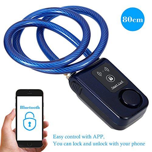 kkmoon Security Lock mit Bluetooth; CABLE LOCK; 80cm schwarz Kette Smart Lock gegen Diebstahl Alarm Keyless-Handy App Steuerung Lock (Entsperren Handy Android)