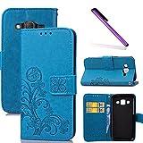 COTDINFOR Samsung J5 2015 Hülle für Mädchen Elegant Retro Premium PU Lederhülle Handy Tasche im Bookstyle mit Magnet Standfunktion Schutz Etui für Samsung Galaxy J5 2015 Clover Blue SD