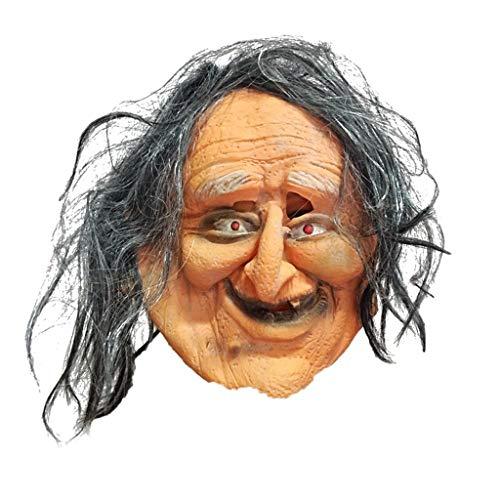 Mann Kostüm Alte Gruselige - HL Cloud Maske,Gruselige Alte Mann Maske Und Haar-Halloween Scary Mask Party Kostüm Requisiten for Erwachsene MJ0829