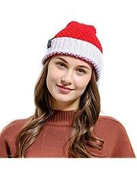 73b5562ba648d Moda de invierno Sombrero Gorro de navidad Sombrero de Papá Noel Sombrero  de punto cálido Gorro con bola de lana…
