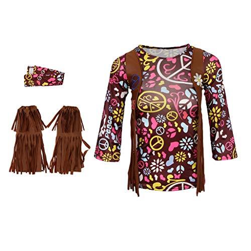 Baoblaze Kinder Mädchen Kostüm Hippie Karneval Fasching Halloween Cosplay Verkleidung mit Schuhe Cover und Haarband - L Kind Disco Dolly