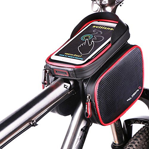 Fahrrad Rahmentaschen, BODECIN Wasserdicht Cycling Lenker Quick Release Bike Gepäcktasche Frame Front Top Tube Bike Bag, Double Pouch with Touch Screen Phone Case Below 6,2 inch Cellphone Phone(Rot)