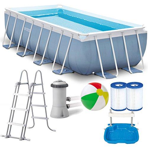 INTEX Prism Frame Swimming Pool 400x200x100 cm Rechteck Stahlwand Leiter & Pumpe 28316 Komplett-Set mit Extra-Zubehör wie: Filterkartusche, Strandball und Fußbad