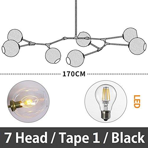 5151BuyWorld Molekulare Kronleuchter Nordic Art LED Lampen Persönlichkeit Kreative Lampe Post - Moderne Beleuchtung Restaurant Kronleuchter[Schwarz & 7 Kopf/Band 1] -