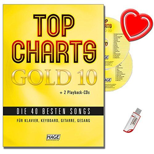 TOP CHARTS GOLD 10 (mit 2 CDs + Midifiles, USB-Stick) - Die 40 besten Songs für Klavier, Keyboard, Gitarre und Gesang - mit bunter herzförmiger Notenklammer