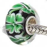 Andante-Stones 925 Sterling Silber Murano Glas Bead Charm Glücksklee (Schwarz Grün) Element Kugel für European Beads + Organzasäckchen