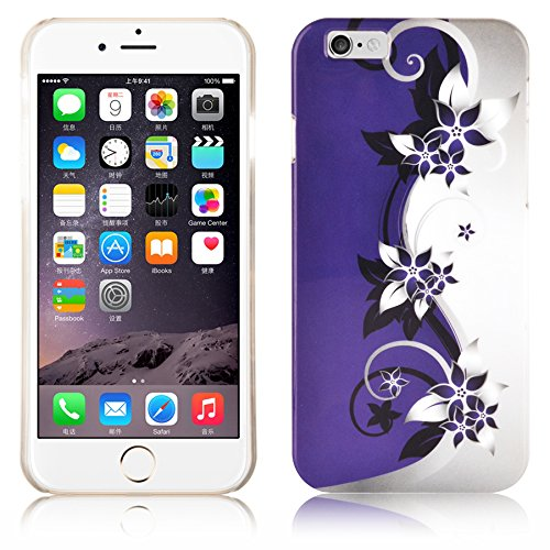 Cadorabo - Hard Cover für >          Apple iPhone 6 / 6S          < (4.7) - Case Cover Schutz-Hülle Bumper im Design: STARS AND STRIPES LILA VEILCHEN