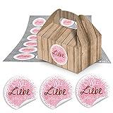 24 kleine Mini-Geschenkkarton Faltschachtel braun natur 9 x 12 x 6 cm ohne Griff + runde Aufkleber MIT LIEBE GEMACHT rosa pink Ø 4 cm als Pralinenschachtel, Keksbox