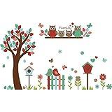 Wandtattoo Wandaufkleber Wandsticker Kinderzimmer mit Eulen Baum Blumen Vögeln und Vogelhaus. Wandbild für Mädchen, Jungen oder Baby Zimmer. Wanddeko Wandtattoobaum.