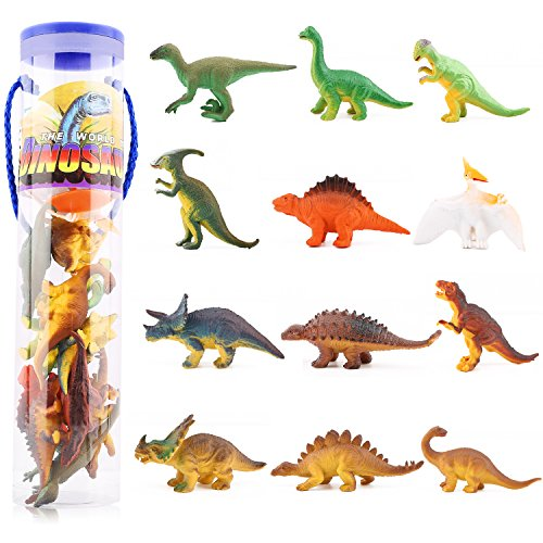 Zooawa Dinosaur Figure Model Toy Set, [12 Pcs] Assorted Educational Realistic Mini Dinosaur Play Set Including Triceratops, Parasaurolophus, Stegosaurus, etc for Kids and Toddlers - Colorful