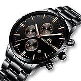 Herren Uhren Männer Militär Sport Wasserdicht Chronograph Schwarz Edelstahl Armbanduhr Mann Luxus Mode Leuchtende Datum Analoge Uhr