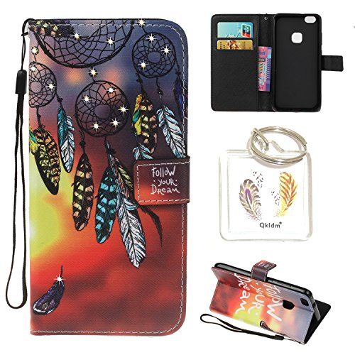 Preisvergleich Produktbild HUAWEI P10 Lite PU Leder Silikon Schutzhülle Diamant Handy case Book Style Portemonnaie Design für HUAWEI P10 Lite + Schlüsselanhänger (IUY (2)