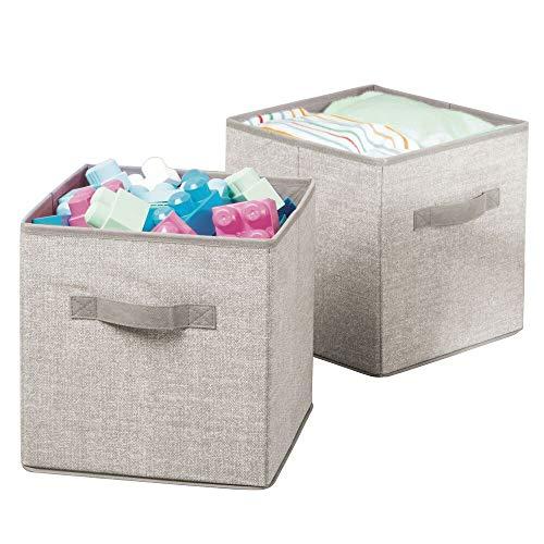 Mdesign set da 2 scatole in tessuto portagiochi ? ideali come scatole per giocattoli, pannolini o coperte ? beige