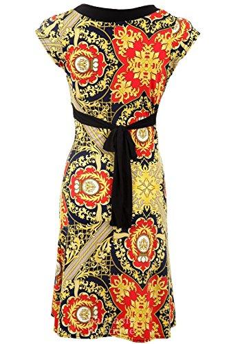 Neu Damen Flügelarm V-Ausschnit Schwarz Gelb Gemustert Rücken Gebunden Schwingendes Damen Kleid Rot