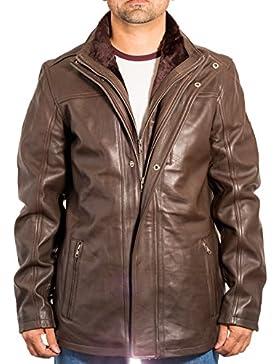Hombres de cuero largo collar doble con estilo informal abrigo de invierno cabido