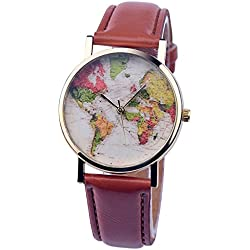 PSFY 2016 new styles leather watches with Tan world map watch Unisex watches wristwatch