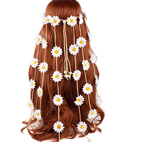 Boyfriend Cardig TININNA Mujeres Hippie Flower Crown Diademas Girasol Hair Crown Crown Bohemia Flower Diadema Borlas Cinturón Accesorios para el Cabello Blanco