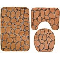 MEI Alfombras de baño Alfombras antideslizantes Alfombras de baño de tres piezas de tres piezas Alfombra antideslizante de baño de tres piezas ( Color : Marrón )