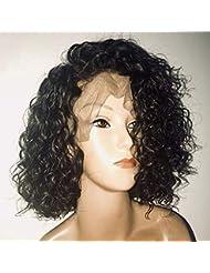 Bob Perruque Femme Naturelle 100% Cheveux Humains Bresiliens Ondulé Deep Wave - Lace Front Frontal Wig Naturel Human Hair (Densité: 150%)
