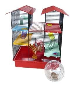Pet Product Distribution Cage métallique pour hamster avec maisonnette, roue, 4 plateformes, 6 tubes 55 x 38 x 62 cm (Multicolore)