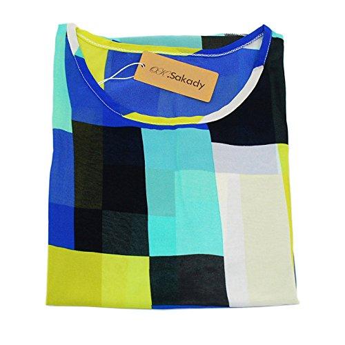 Oksakady Frauen Lose T-Shirt Chiffon Batwing Ärmel Bluse Plus Size Tunika BOHO-2