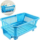 Chefstar 3 in 1 Large Sink Set Dish Rack Drainer with Tray for Kitchen, Dish Rack Organizers (Blue)