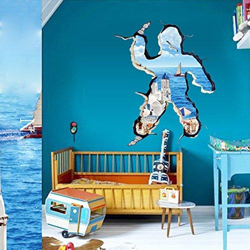 Asenart 3D Strand Fenster, Abnehmbarer Humanoide Meerblick Vinyl Wand Aufkleber für Home Decor Kunst Größe 111,8x 91,4cm